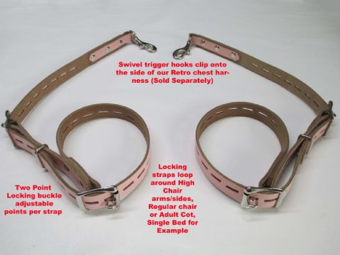 Pair of Leather  Locking/Adjustable AB/DL High Chair Restraints (For use with our Chest Harness)